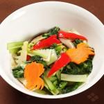 イカと旬野菜のマスタード炒め
